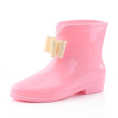 garden boots. Womens Ankle Rain Boots Wellington Wellies Low Heel Jelly Bow Boot Waterproof Rubber Garden (