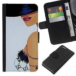 A-type (Woman Hat Bra Lips Sexy Art) Colorida Impresión Funda Cuero Monedero Caja Bolsa Cubierta Caja Piel Card Slots Para Apple iPhone 5C