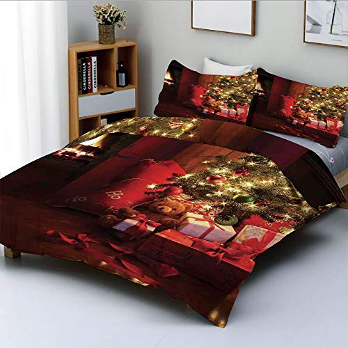 Duplex Print Duvet Cover Set Queen Size,Xmas Scene with Decorated Luminous Tree and Gifts by the Fireplace Artful ImageDecorative 3 Piece Bedding Set with 2 Pillow Sham,Red Yellow,Best Gift For Kids &