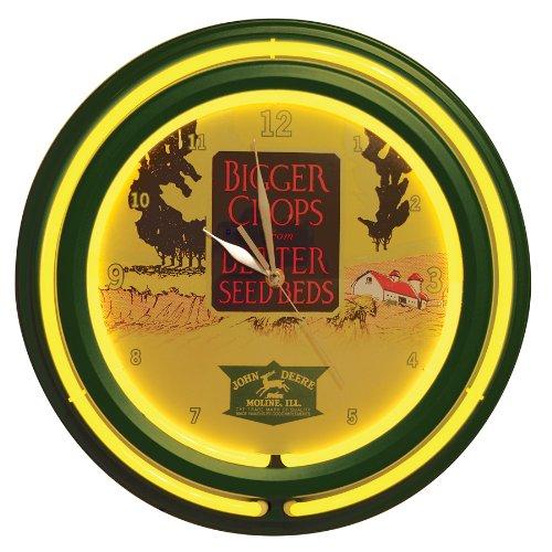 John Deere Vintage Ad Double Neon Clock