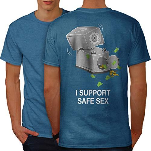 wellcoda Support Safe Sex Funny Mens T-Shirt, Image Design Print on The Back Royal Blue S
