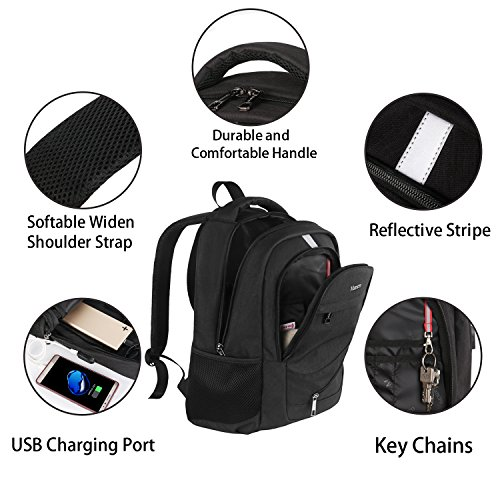 High School Backpack, Laptop Backpack RFID College Bag for Women Men, Anti theft Travel Business Laptop Bag w/USB Charging Port, Mancro Slim Water Resistant Polyester Daypack Fit 15.6'' Notebook, Black by Mancro (Image #4)
