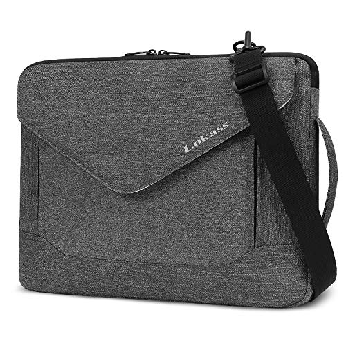 LOKASS Laptop Sleeve Case Bag Protective Briefcase Handbag Water-Resistant Envelope-Style Laptop Carrying Case with Handle and Strap Compatible 13-15.6 Inch MacBook Pro/Notebook/Ultrabook, Gray