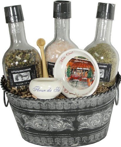 Spice and Salt Grinders Gourmet Gift Basket With French Products