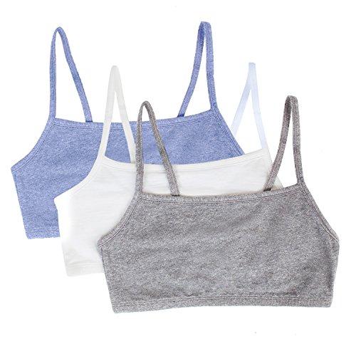 Fruit of the Loom Women's Built-Up Sports Bra, Grey/White/Heather Blue, 34