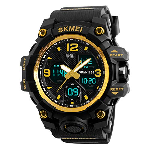 Mens Analog Digital Watch - LED 50M Waterproof Outdoor Sport Watches Military Multifunction Casual Dual Display 12H/24H Stopwatch Calendar Wrist Watch-Gold ...