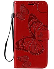Amocase Wallet Leather Case with 2 in 1 Stylus for Samsung Galaxy S20 FE,Premium Strap 3D Butterfly Magnetic PU Leather Stand Shockproof Card Slot Case for Samsung Galaxy S20 FE - Red