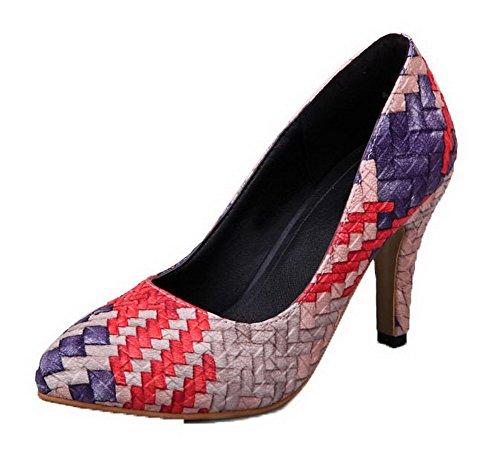 AllhqFashion Damen Spitz Zehe Hoher Absatz PU Leder Gemischte Farbe Pumps Schuhe Blau