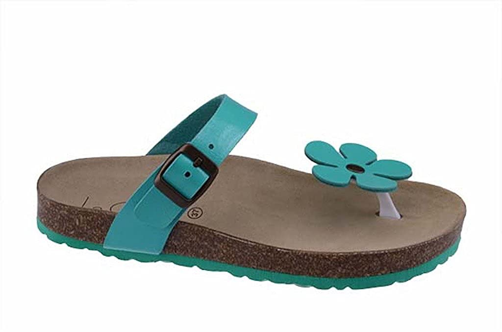 Le Clare Damen Zehentrenner-Sandalen Pantoletten mit anatomischen Fuszlig;bett Aus Naturkork ndash; Farbe: Aquamarin - Lackoberflauml;che  44 EU