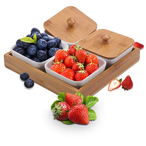 Ceramic Snack Serving Tray, 4-Compartment Tray Serving Platter with Bamboo Lid and Pallets,Moisture-proof Bowls for Food,Snacks,Condiments, Appetizers(White)]()