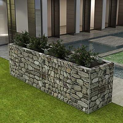 UnfadeMemory Jardinera Exterior,Gaviones de Piedra,Muro de Gaviones,Decorativos para Jardin Patio,Acero Galvanizado,Plateado (360x90x100cm): Amazon.es: Hogar