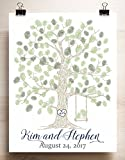 Wedding Guest Book Alternative thumbprint tree with swing and heart free rush 2 day processing