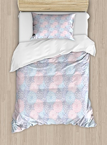 - Ambesonne Dahlia Duvet Cover Set Twin Size, Stripy Hand-Drawn Dahlia Pale Colored Blossoms in Pink Purple and Blue, Decorative 2 Piece Bedding Set with 1 Pillow Sham, Sea Green Rose Taupe