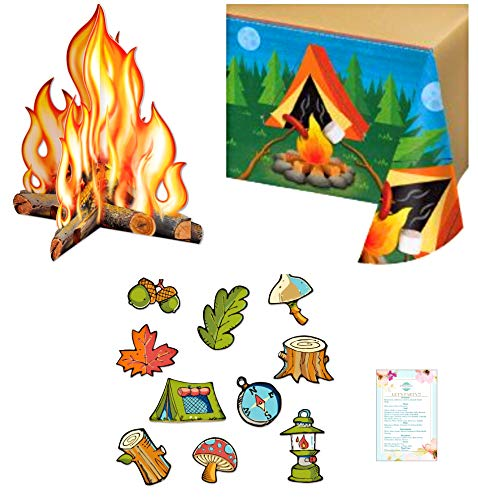 Camping and Fishing Party table cover, 10 camping cutouts, and 1 3-D campfire centerpiece- Great for parties, Summer Camps, Girl Scouts and Boy Scouts, Fishing Trips, and Summer Fun]()