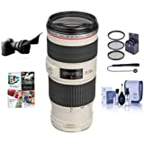 Canon EF 70-200mm f/4L IS USM Autofocus Lens Kit, USA - Bundle with 67mm Photo Filter Kit, Lens Cap Leash, Cleaning Kit, Flex Lens Shade, ProfessionalSoftware Package
