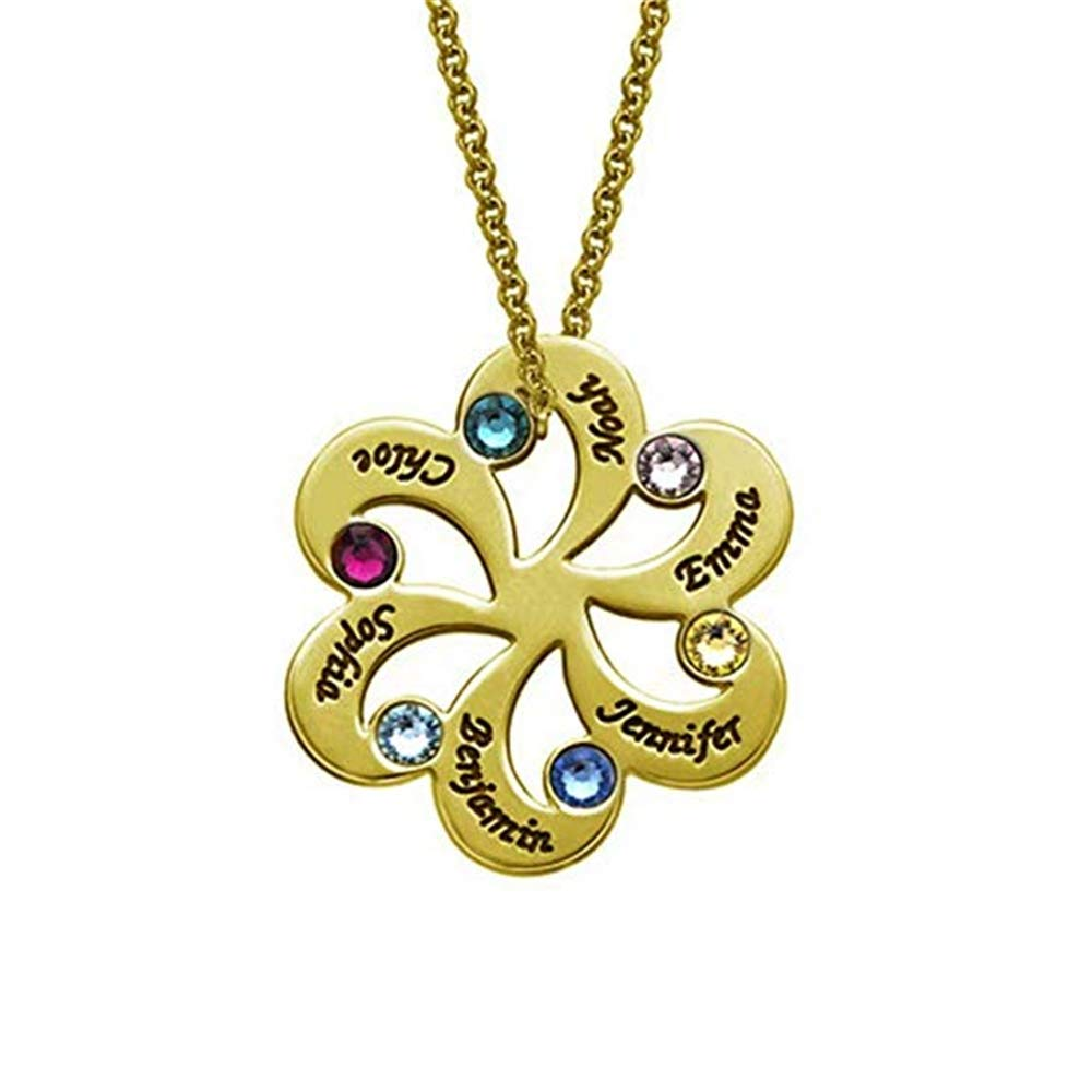 brcx 925 Sterling Silver Family Necklace Name Necklace Engraved with 6 Names/& 6 Birthstones for Mother