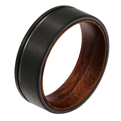 POYA 8mm Black Tungsten Carbide Ring 8mm Polished Thin Line Brushed Wedding Band with Wood Sleeve Interior