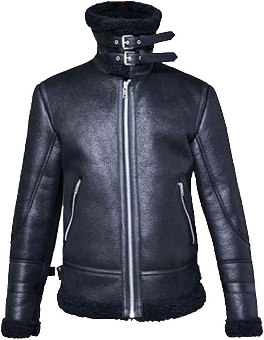 Twcx Mens Biker Faux Pu Leather Thicken Motorcycle Fleece Linen Jacket Coat