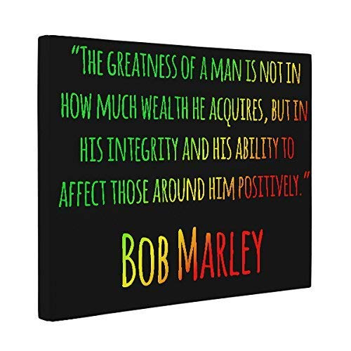Greatness of a Man Bob Marley Quote CANVAS Home Décor