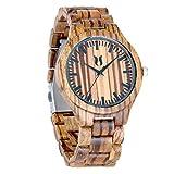 Wood Watches for Men,UMIPHIMAT Natural Handemade Mens Wooden Watch, Japanese Analog Quartz Movement Zebrawood Wood Wrist Watch
