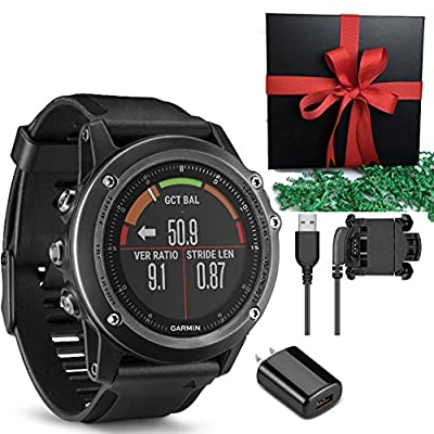 Garmin Fenix 3 HR, Gray GPS Activity Tracker Multi Sports Fitness Compass Watch, or Performer Bundle(with HRM Band) IN GIFT BOX