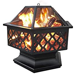 Fire Pits Yaheetech Hexagon Fire Pit Fireplace Portable Firepit Iron Brazier Wood Burning Coal Pit Hex Shaped Fire Bowl Stove with… firepits