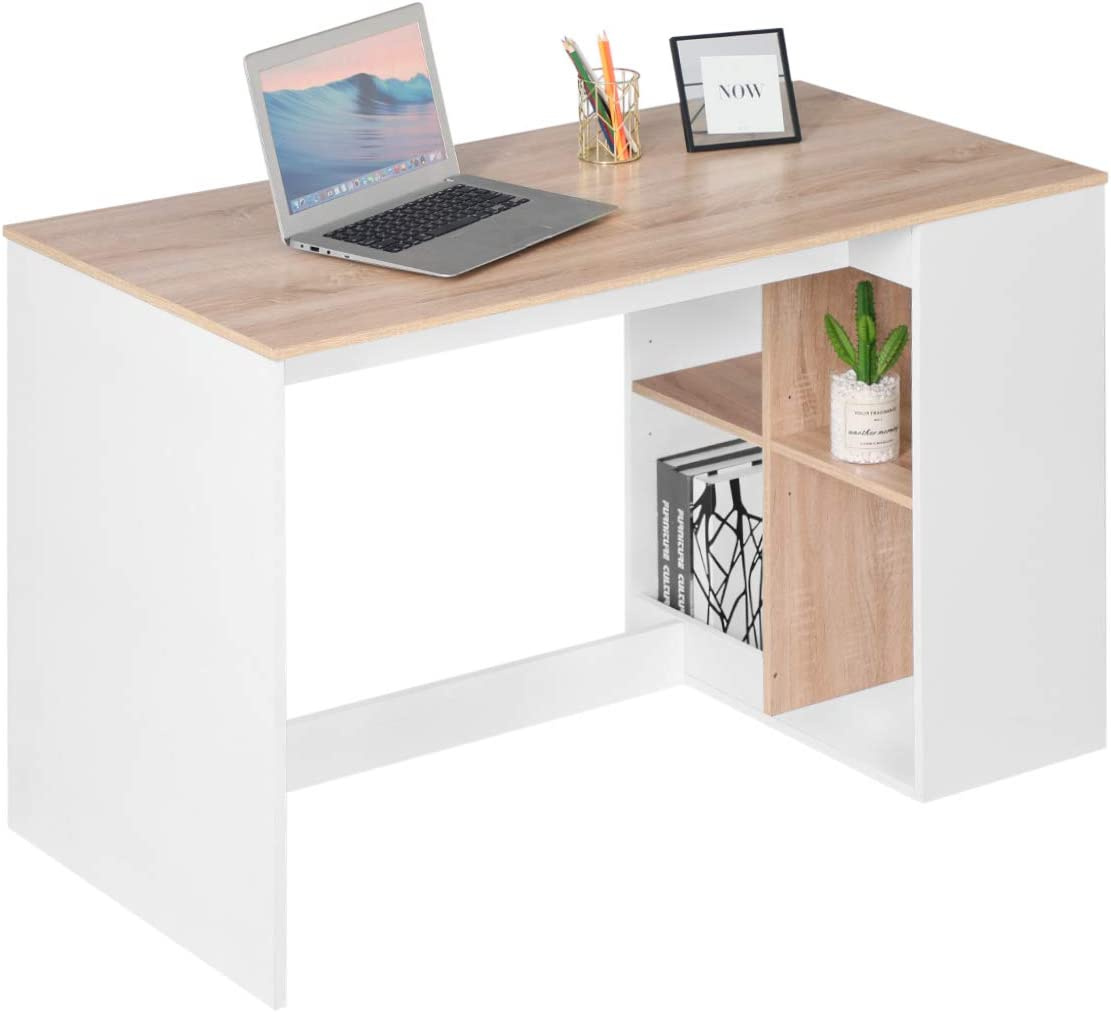 Office Computer Desk 47'' Kids Writing Desk Study Work Desk with 4 Storage Shelves Home PC Laptop Gaming Table Modern Wood Workstation with Bookcase, Beech White