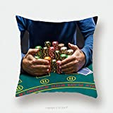 Custom Satin Pillowcase Protector Poker Player Taking Poker Chips After Winning 366651875 Pillow Case Covers Decorative