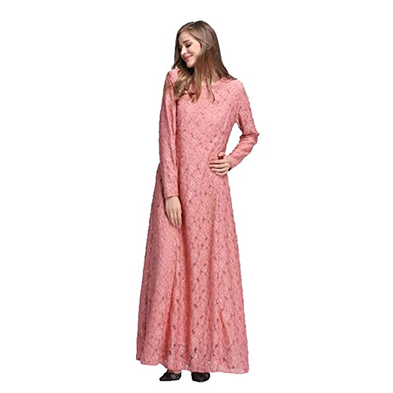 Zhuhaixmy Women Muslim Kaftan Abaya Dress Islamic Middle East Malaysia Long Sleeve Lace Party Maxi Dress