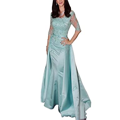 Dimei Off Shoulder Satin Mermaid Prom Dresses Long 2018 Half Sleeves Applique Beaded Sash Mermaid Evening