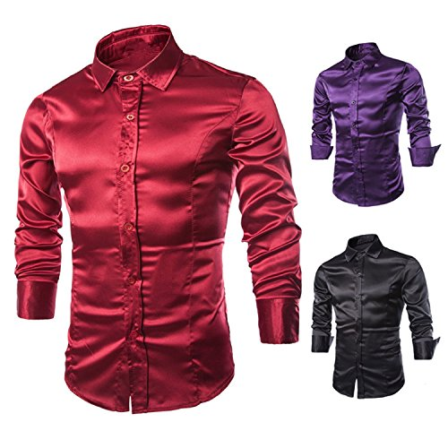 LeNG New mens brand Fashion Imitate Real Silk casual Man Long Sleeve tuxedo Shirt dress camisa slim fit Shirts Wine RedX-Large