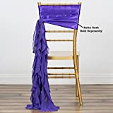 Efavormart Tableclothsfactory 5pcs Chiffon Purple Curly Chair Sashes For Home Wedding Birthday Party Dance Banquet Event Decoration