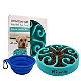 Left&Right Pet Fun Feeder Dog Bowl Slow Feeder, for Big Dog Bloat Stop Dog Food Bowl Maze Interactive Puzzle Non Skid,Come with Free Travel Bowl (Large Blue Φ11.7'')