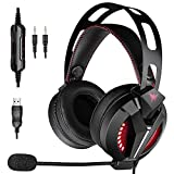 Combatwing Gaming Headset - Headset Xbox One Headset Compatible with PS4, PC, Xbox One Controller Switch (Audio) PS4 Headset with Bass Surround, Memory Protein Earmuffs and Adjustable Microphone