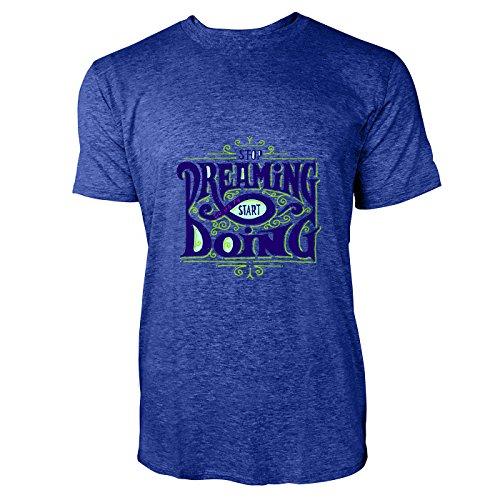 SINUS ART® Retro Print Stop Dreaming Start Doing Herren T-Shirts in Vintage Blau Cooles Fun Shirt mit tollen Aufdruck