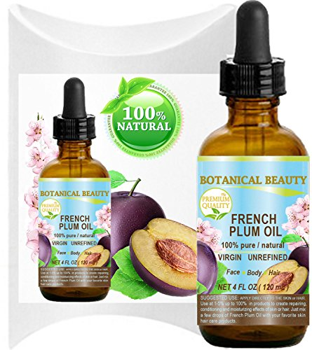 PLUM OIL French. 100 Pure Natural Virgin Unrefined Undiluted Cold Pressed Carrier Oil. For Face, Hair and Body. 4 Fl.oz – 120 ml.
