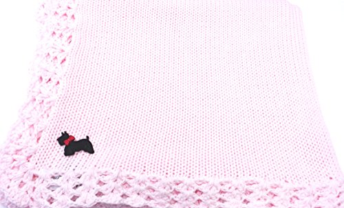 Bubu Knitted Hand Crochet Finished Pink Cotton Baby Blanket Dog Applique'