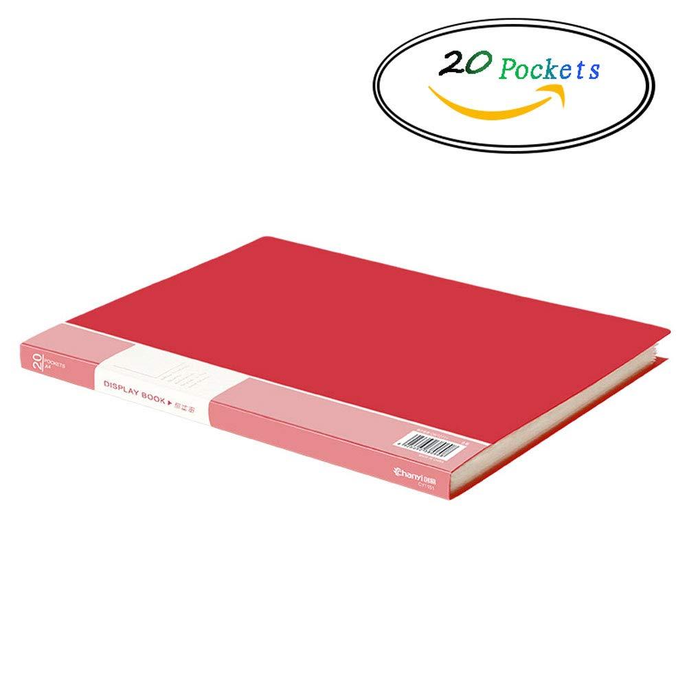 HALORI A4 Display Book Folder,Portfolio Folder Presentation Book Pocket (Color : Blue 20 Pockets) HALORI office