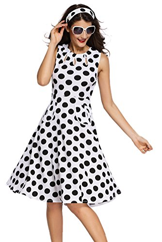 Sisiyer-Womens-Vantage-Polka-Dot-Bohemian-Print-Dress-Keyhole-with-Belt