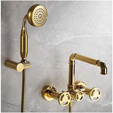 ハンドシャワー付きバスタブ水栓、バスシャワーセットバスタブミキサータップデュアルコントロールシャワー壁掛けバスルーム用,Gold a