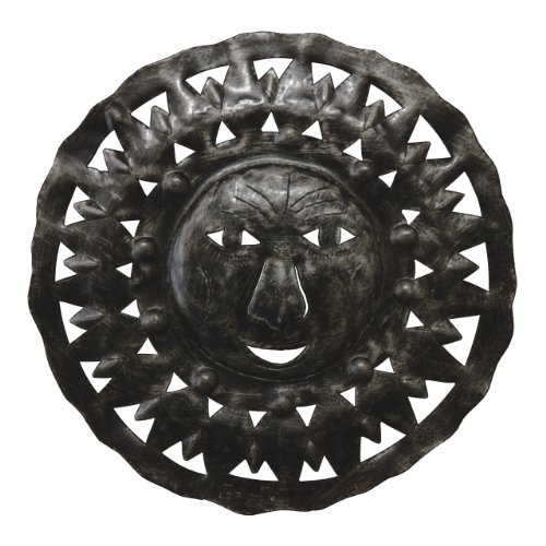 (Le Primitif Galleries Haitian Recycled Steel Oil Drum Outdoor Decor, 8 by 8-Inch, Lion Sun)