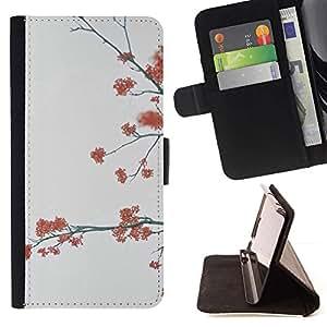 For Samsung ALPHA G850 Case , Árboles Gris Naturaleza Otoño- la tarjeta de Crédito Slots PU Funda de cuero Monedero caso cubierta de piel