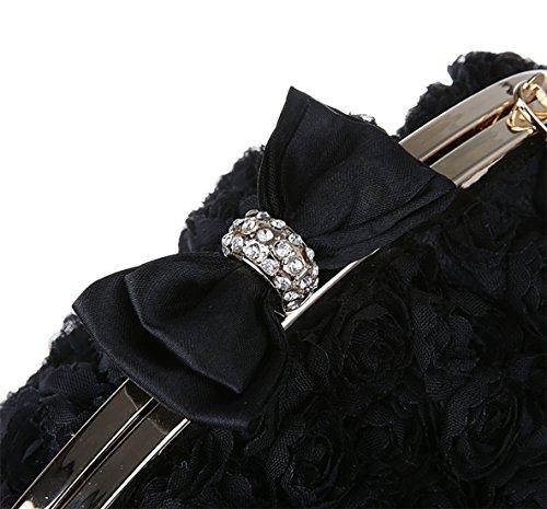 Chaîne Sac Décorées Nœud Noir Femme Fermoir Pochette Pour Roses Mariage Papillon Bal Soirée de wXqBxd5