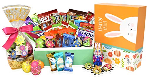 Easter Variety Snack and Chocolate Gift Pack in Happy Easter Gift Box (Yellow) - 30 COUNT - Easter Bunny Chocolate Eggs, Reese's, Lindt, Ghirardelli - Easter Gifts for Family, Friends, Kids, Coworkers