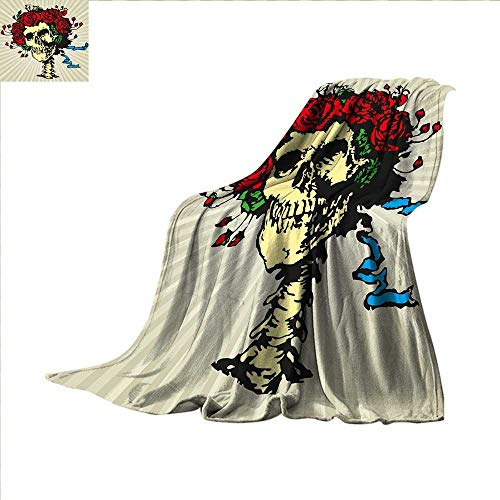 smallbeefly Rose Super Soft Lightweight Blanket Tattoo Art Style Graphic Skull in Red Flowers Crown Halloween Composition Print Oversized Travel Throw Cover Blanket 90