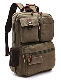Canvas Backpack, Aidonger Vintage Canvas School Backpack Hiking Travel Rucksack Fits 15'' Laptop (Army green48)