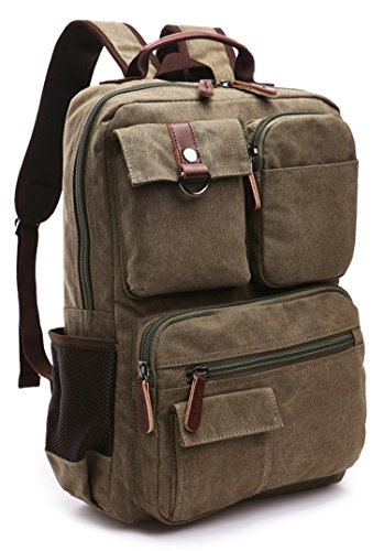 Spectacular Makeup - Canvas Backpack, Aidonger Vintage Canvas School Backpack Hiking Travel Rucksack Fits 14'' Laptop (Army Green-48)