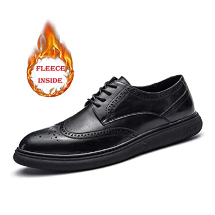 ee791bdd0a75 Hilotu Clearance Men's Casual Soft Bottom Regular Cotton Warm Brogue Shoes  Wingtip Comfort Formal Business Oxfords (Color : Warm Black, Size : 8 D(M)  ...