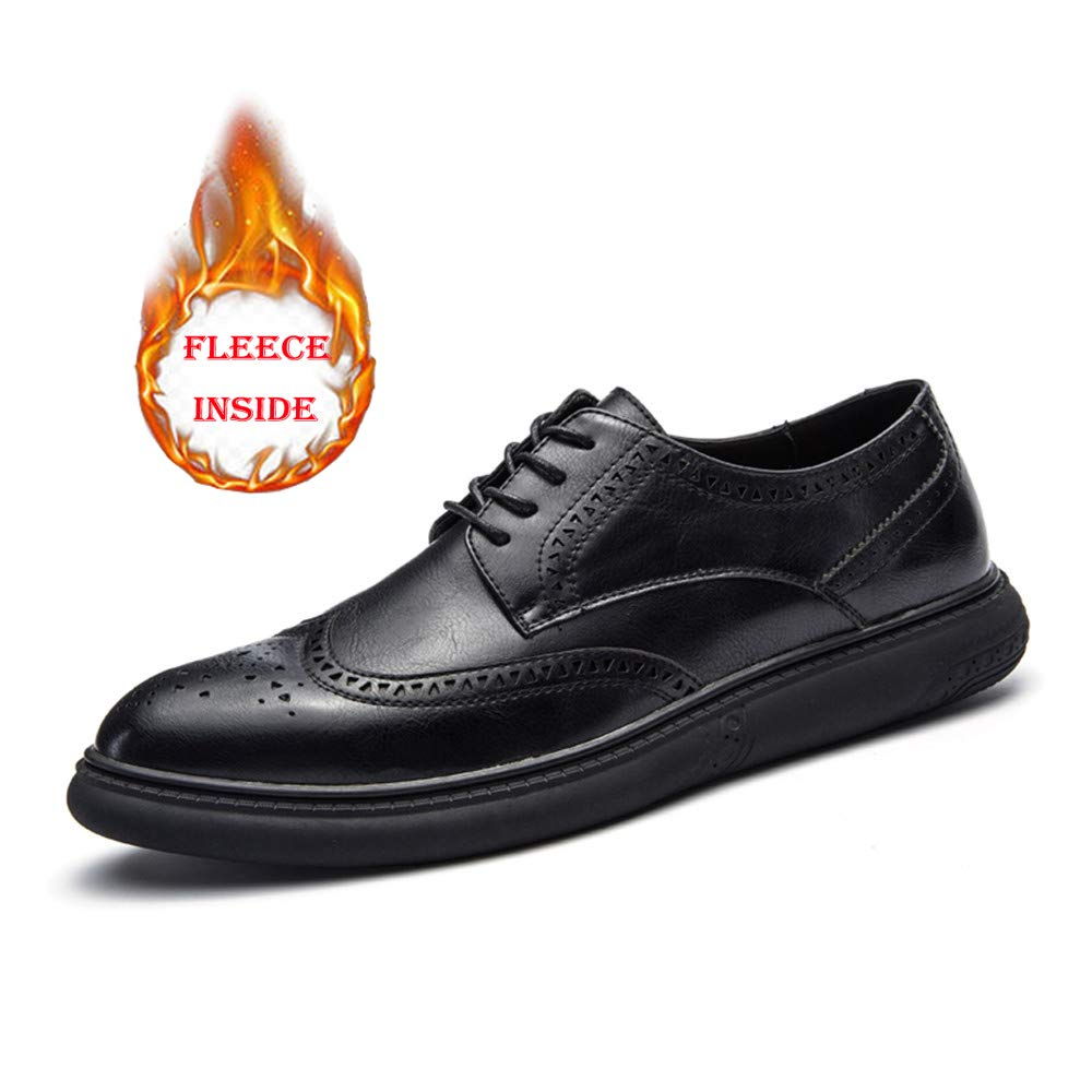 Hilotu Clearance Men's Casual Soft Bottom Regular Cotton Warm Brogue Shoes Wingtip Comfort Formal Business Oxfords (Color : Warm Black, Size : 9 D(M) US) by Hilotu-shoes (Image #1)