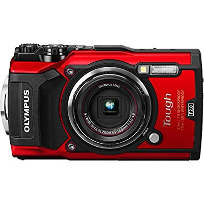 Olympus Waterproof Tough TG-5 Digital Camera (Red) with SanDisk Ultra 64GB SDXC UHS-I Memory Card, Floating Wrist Strap, More